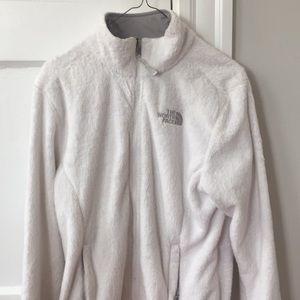 White fuzzy north face jacket size medium